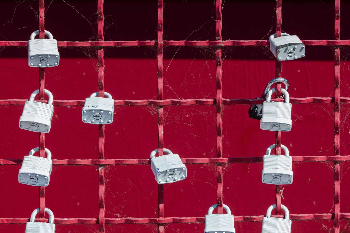 multiple locks chained to a fence